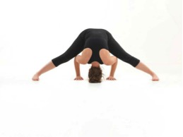wide legged standing forward bend pose